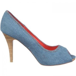 Women denim shoes with open toe
